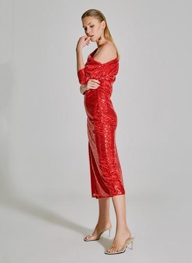 People By Fabrika Payetli Yırtmaçlı Tek Omuzlu Elbise Kırmızı